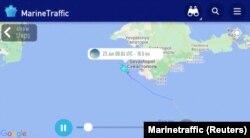 Скріншот траєкторії шляху HMS Defender із ресурсу Marinetraffic