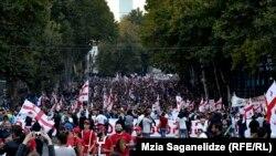 Гуьржийчоь -- «Цхааллин къоман болам» партин харжамашна хьажийна митинг, Тбилиси, 05ГIад2016