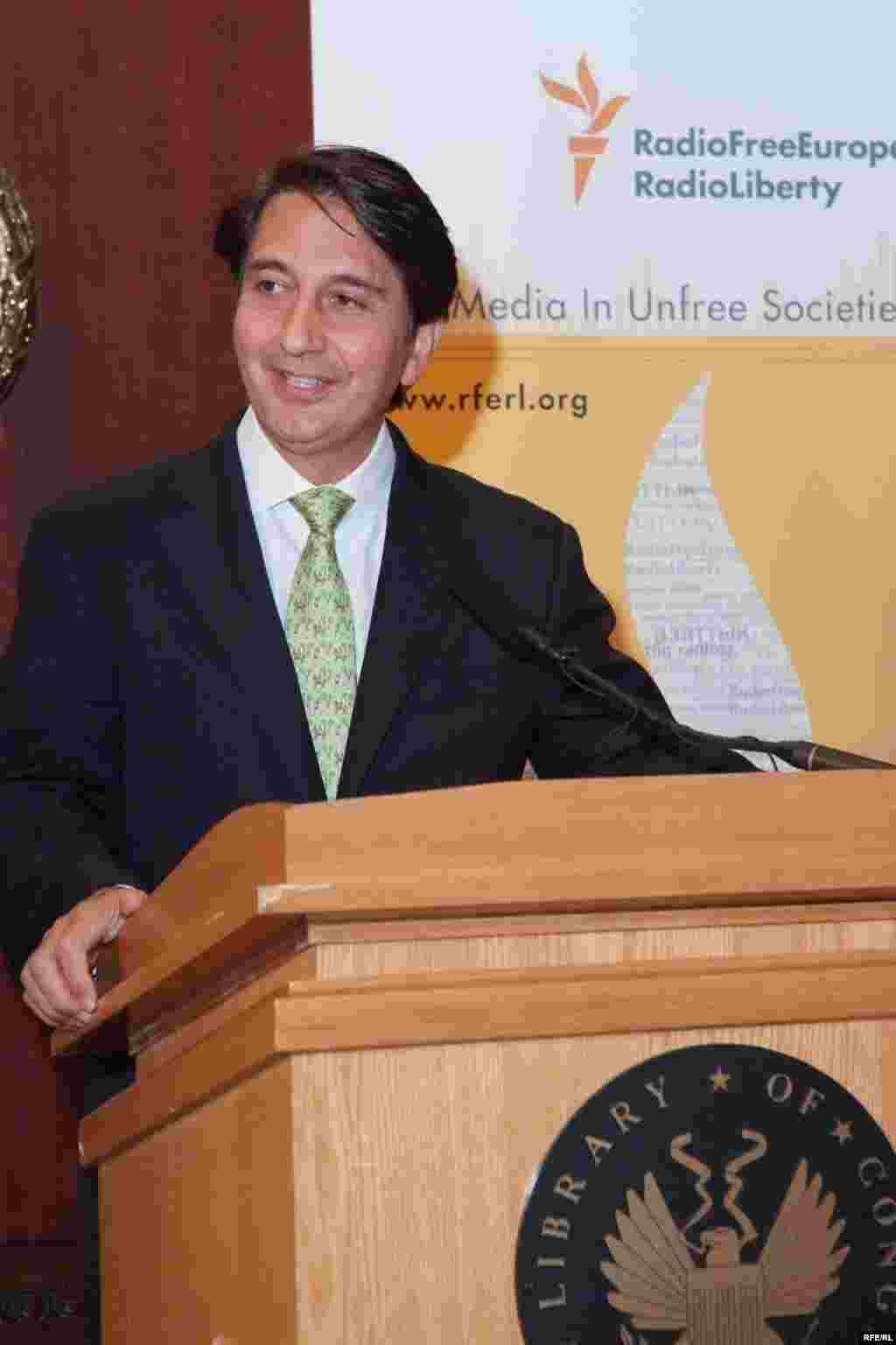 "Afghan Ambassador to the U.S., Said Tayeb Jawad, speaking at the ""Voices from Afghanistan"" opening reception - (Photo by P. Alunans)"