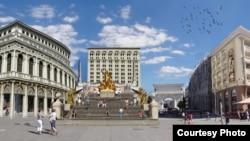 Шпански скали на плоштадот Македонија како дел од проектот Скопје 2014.