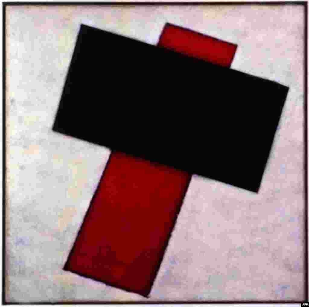 """Suprematist Composition,"" by Kazimir Malevich, 1920-21 - Futurism gave birth to the abstract school of suprematism, which used primary colors and simple shapes to create dynamic compositions of surprising power. The streamlining of forms to pure geometric abstraction suggested a radical break with earlier realist art, and predated the doctrine of Socialist Realism."