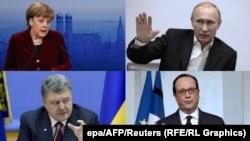 Ангела Меркель, Владимир Путин, Петр Порошенко и Франсуа Олланд