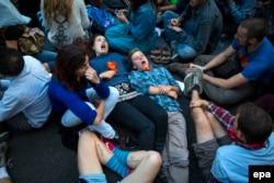 """Протесты """"Захвати Уолл-стрит"""" в Нью-Йорке в 2014 году"""