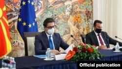 Претседателот Стево Пендаровски и премиерот Зоран Заев на Седница на Советот за безбедност