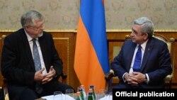 Armenia -- President Serzh Sarkisian meets with Herbert Salber, the European Union's special representative for the South Caucasus, Yerevan, 9Feb2015