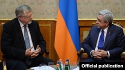 Armenia -- President Serzh Sarkisian meets with Herbert Salber, the European Union's special representative for the South Caucasus, Yerevan, 9Feb2015