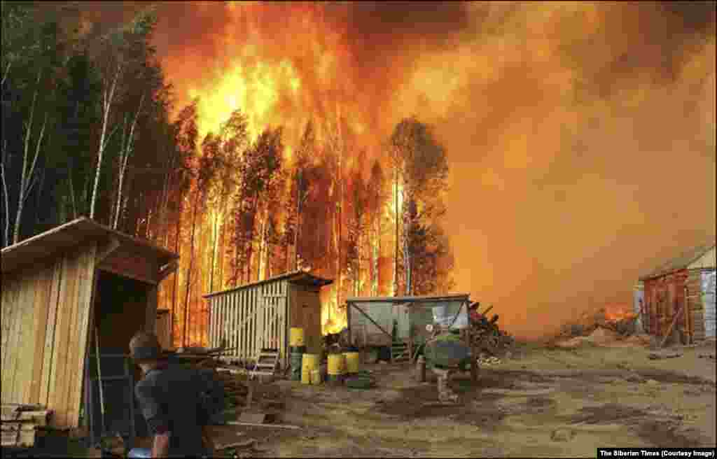 A 2015 file photo of a blaze near Lake Baikal. 2015 was the second-worst year on record for Russian wildfires and this year's blazes have begun unusually early.
