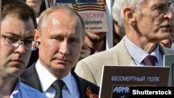 Президент Росії Володимир Путін під час акції «Безсмертний полк». Москва, 9 травня 2018 року