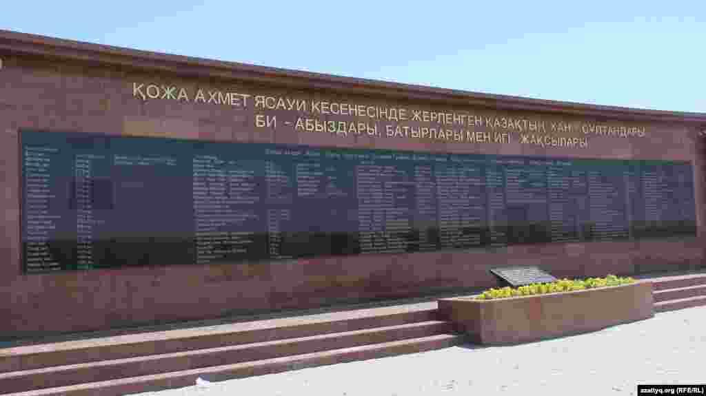 Список ханов, биев, и батыров, похороненных в мавзолее Ходжи Ахмета Яссауи и на прилегающей территории.