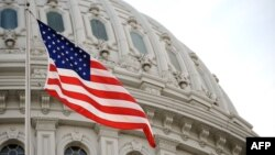 Американский флаг на здании конгресса США в Вашингтоне.