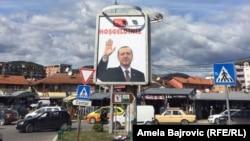 Fotografi e mirëserdhjes për presidentin turk Erdogan në Novi Pazar