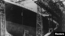 Titanicul înaintea lansării sale la apă la 31 martie 1912