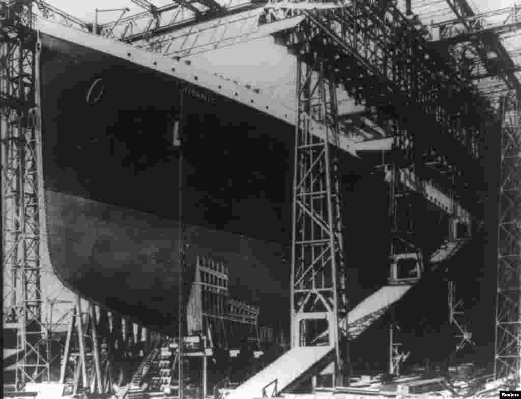 "The ""Titanic"" just prior to being launched into the River Lagan, in the north of Ireland, on May 31, 1911."
