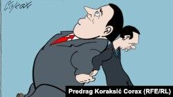 Predrag Koraksiç Koraksyň çeken karikaturasy.