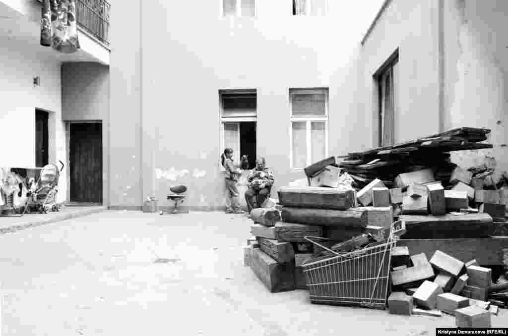 The courtyard of the Cina family's apartment in Zizkov, a run-down but vibrant neighborhood in Prague with a high concentration of Romany inhabitants.
