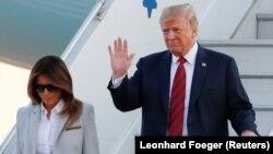 2018 წლის 15 ივლისი: აშშ-ის პრეზიდენტი და პირველი ლედი ჰელსინკის აეროპორტში