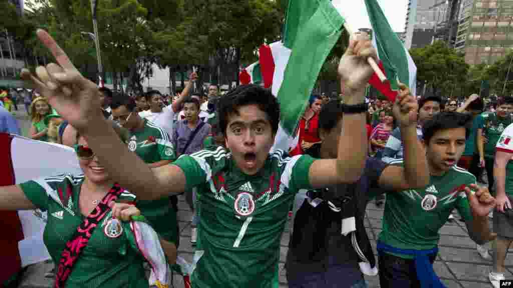 Мексиканские фанаты празднуют после матча национальной сборной с бразильской командой, который закончился со счетом 0:0. Мехико, 17 июня 2014 года.