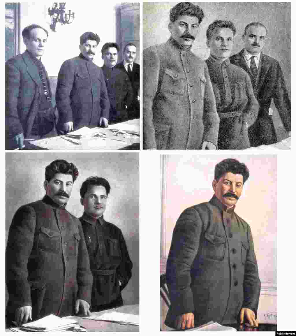 Image retouching to prettify portraits was widely popular during the early 20th century, but in the Soviet Union, highly skilled retouchers were also employed for a more sinister role: as comrades fell out of favor with Stalin and were removed from office or executed, the politically inconvenient figures were carefully scratched and painted out of the frame. Original photo shows from left to right: Nikolai Antipov, Josef Stalin, Sergei Kirov, and Nikolai Shvernik.