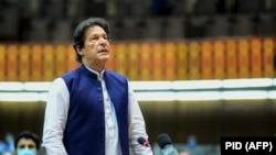 Pakistani Prime Minister Imran Khan speaks during the National Assembly session in Islamabad on June 25.