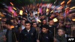 Церемония памяти армян, погибших в начале XX века в Османской империи. Ереван, 23 апреля 2013 года.