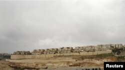 A construction site in the settlement of Pisgat Zeev, in occupied East Jerusalem, in February