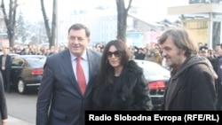 Milorad Dodik sa Monikom Beluči i Emirom Kusturicom, Banjaluka, januar 2013.