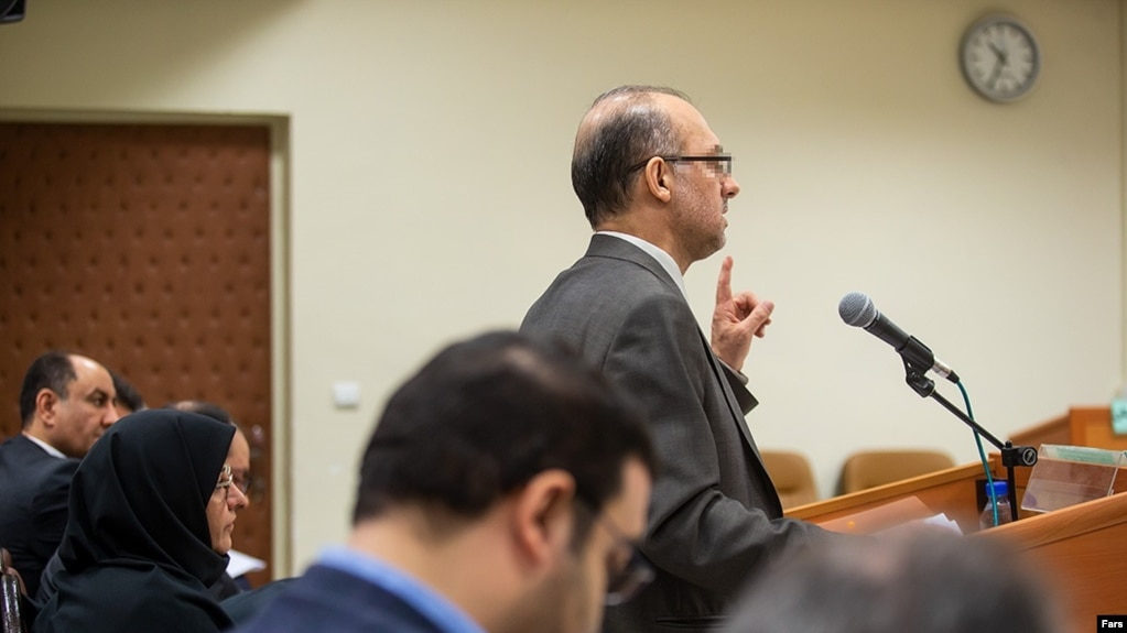 Reza Hamzelou the main figure in the huge petrochemicals exporting scandal in Iran speaking in the court. March 2019