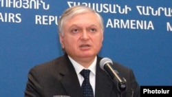 Armenia -- Foreign Minister Edward Nalbandian, at a news conference, 25June 2010.