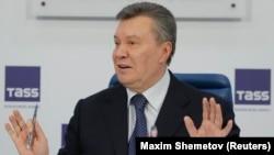 Бывший президент Украины Виктор Янукович, смещенный с должности в результате массовых протестов в 2014 году и бежавший в Россию. Москва, 2 марта 2018 года.