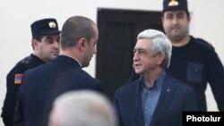 Armenia -- Former President Serzh Sarkisian arrives for the start of his trial, Yerevan, February 25, 2020.