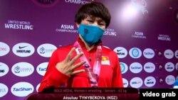 Айсулуу Тыныбекова на Чемпионате Азии по спортивной борьбе. Алматы. 16 апреля 2021 года.