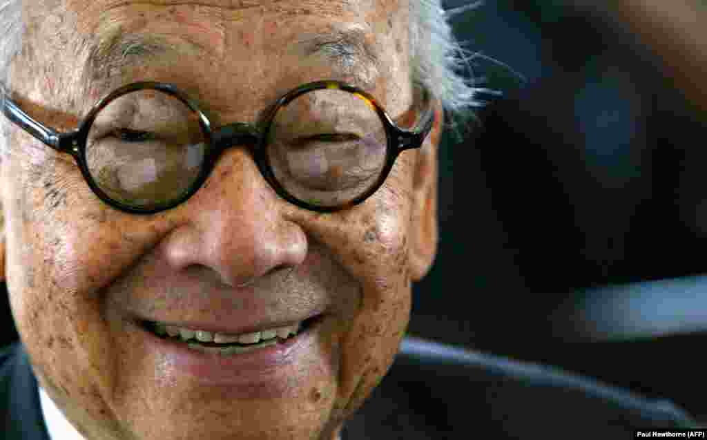 U.S. - (FILES) In this file photo taken on April 21, 2004 architect I.M. Pei smiles for a photo after being honored with an Ellis Island Family Heritage Awards at the Ellis Island Museum in New York City.