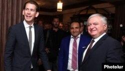Armenia - Foreign Minister Edward Nalbandian and his visiting Austrian counterpart Sebatsian Kurz (L) inaugurate the Austrian Development Agency (ADA) office in Yerevan, 8Sep2014.