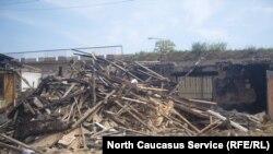 Një shtëpi e shkatërruar në Dagestan gjatë një operacioni të mëparshëm të sigurisë