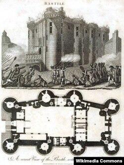 Бастилия на гравюре 18-го века