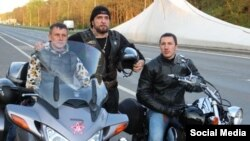 Night Wolves bikers on the road in Slovakia