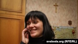 Nasta Palazhanka after being released from KGB prison in Minsk on February 17.