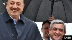Azerbaijani President Ilham Aliyev (left) and Armenian President Serzh Sarkisian in happier times (file photo)