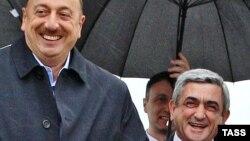 Azerbaijani President Ilham Aliyev (left) and Armenian President Serzh Sarkisian in happier times (file photo)
