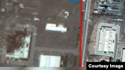 A satellite image obtained by Iran International TV shows a building at Natanz enrichment facility before and after a July 2, 2020 incident.