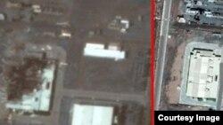 مرکز سانتریفیوژ ایران در نطنز قبل از حادثه (راست) و بعد از حادثه