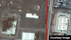 A satellite image showing a building at Natanz enrichment facility before (R) and after a July 2, 2020 incident.