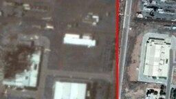 مرکز سانتریفوژ ایران در نطنز قبل از حادثه (راست) و بعد از حادثه