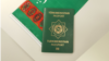 Türkmenistanyň döwlet baýdagy we Türkmenistanyň raýatynyň ýurtda girip çykmagyna degişli biometriki pasporty.