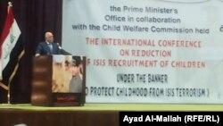 رئيس الوزراء حيدر العبادي يتحدث في مؤتمر مناهضة تجنيد الأطفال