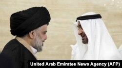 مقتدی صدر (چپ) و محمد بن زاید آل نهیان،ولیعهد ابوظبی ( نایب فرمانده کل قوای مسلح امارات متحده عربی)