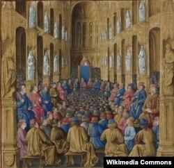 Клермонский собор. Миниатюра Жана Коломба. 1474