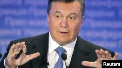 Президент Украины Виктор Янукович на пресс-конференции 21 декабря 2011 года.