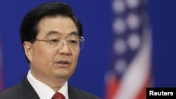 Chinese President Hu Jintao speaks during the opening ceremony of the U.S.-China talks.