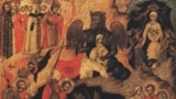 Строгановская школа иконописи. Чудо Святого Феодора Тирона. Первая половина XVII века.